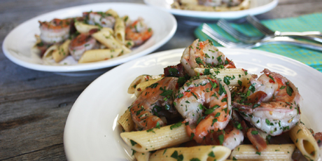 Bacon Scampi with Penne and Mustard
