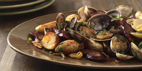Baked Clams with Chorizo and Fingerling Potatoes