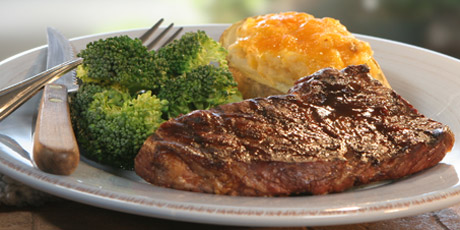 BBQ Steak with Stuffed Potatoes and Broccoli
