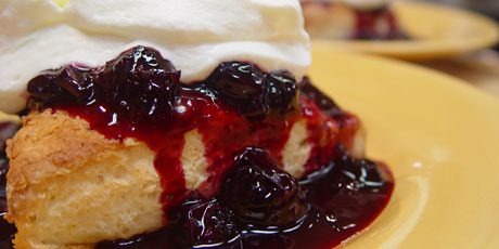 Blueberry Shortcake with Sour Cream Biscuits and Honeyed Cream