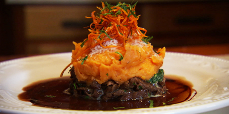 Braised Lamb Shank Shepherd's Pie with Sweet Potato Mash
