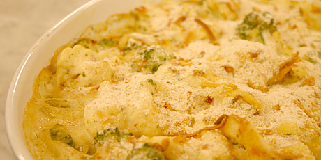 Broccoli and Cauliflower Gratin with Smoked Gouda