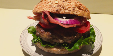 Canadian Cheddar Burgers with Peameal Bacon