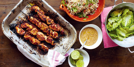 Chicken Skewers, Amazing Satay Sauce, Fiery Noodle Salad, Fruit & Mint Sugar