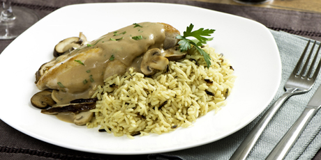 Chicken And Rice With Mushroom Cream Sauce Recipes Food Network Canada