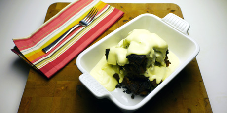 Chocolate Bread Pudding with Creme Anglaise