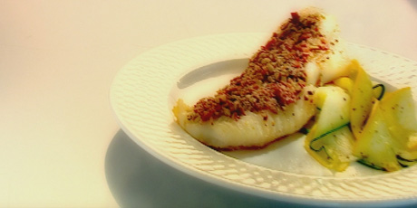 Cod with Dried Tomato Pesto and Pumpkin Seeds