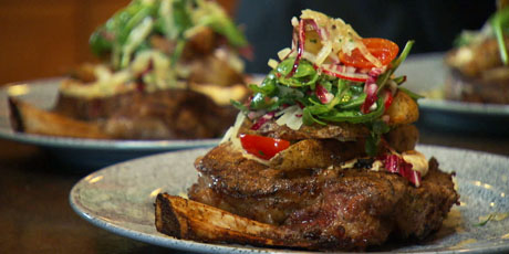 Coffee-Salted, Pan Seared Rib Eye Steak with Cowboy Steak Fry Salad and Smoked Paprika Aioli