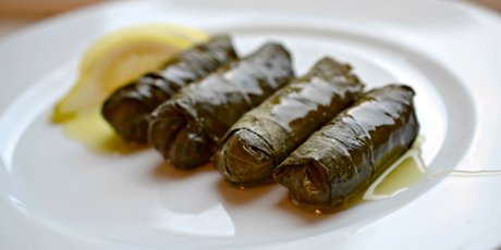 Couscous, Feta and Currant-Stuffed Grape Leaf Rolls