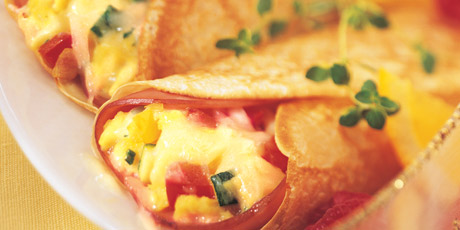 Crêpes Stuffed with Eggs, Cheddar, Ham and Vegetables