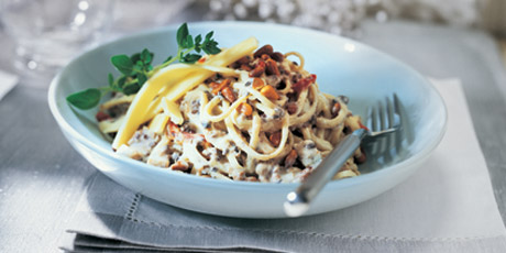Creamy Pasta with Turkey, Mushrooms and Old Cheddar