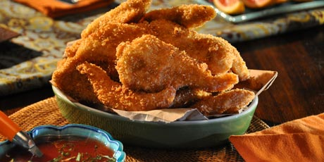 Crispy Chicken Fingers with Sweet and Sour Blood Orange Sauce