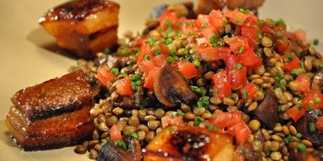 Crispy Glazed Pork Belly with Sauteed Mushrooms and Aromatic Lentils