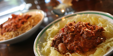 Crock-Pot Bolognaise Sauce with Spaghetti Pasta or Squash and Veggies