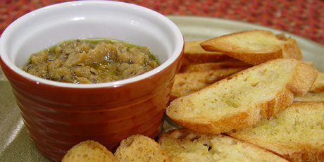 Crostini with Roasted Garlic and Caraway