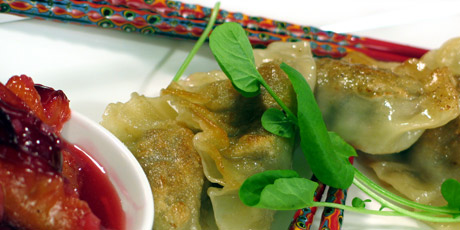 Duck Pot Stickers with Plum Sauce