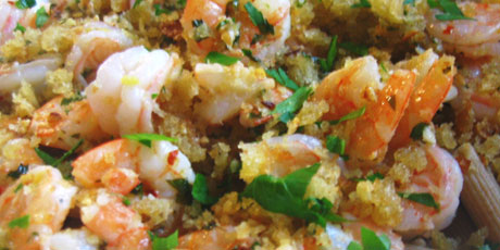 Farfalle with Shrimps & Garlic Breadcrumbs