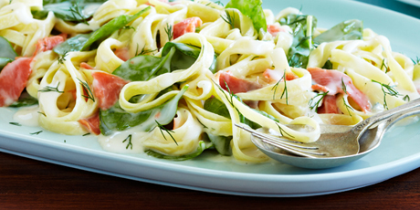 Fettuccine with Smoked Salmon and Dill Cream Sauce