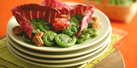 Fiddlehead Salad with Pickled Red Onions and Maple Toasted Pecans