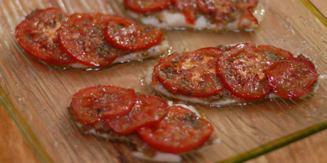 Fish with Tomatoes and Green Olive Tapenade