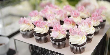 Flower Topped Chocolate Cupcakes
