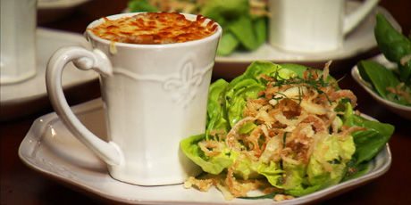 French Onion Soup and Salad with Vidalia Vinaigrette