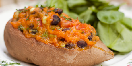 Fully Stuffed Sweet Potatoes