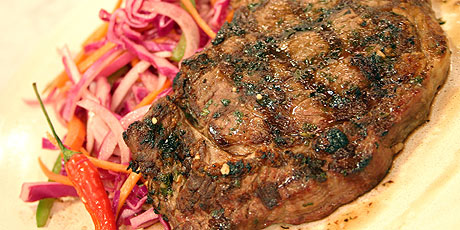 Grilled Buffalo Steak with Chimichurri Sauce