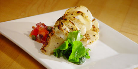 Grilled Calamari with Tomato Olive Salsa