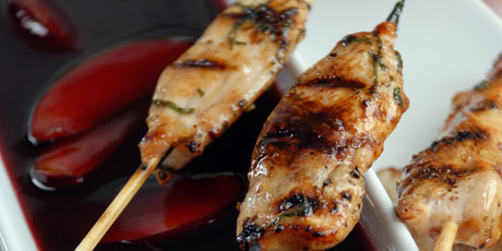 Grilled Chicken Sticks with Plum Sauce