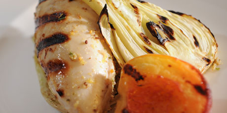 Grilled Chicken with Peaches and Fennel