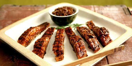 Grilled Salmon with Balsamic Onion Glaze