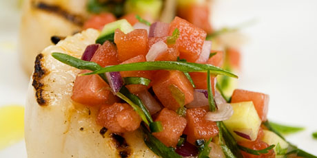 Grilled Scallops with Watermelon Salsa