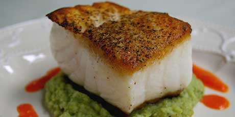 Grilled Sea Bass with Roasted Red Pepper Sauce and Brocolli Puree