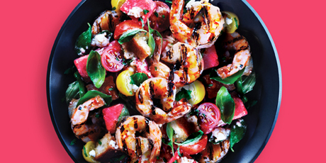 Grilled Shrimp and Watermelon Summer Salad