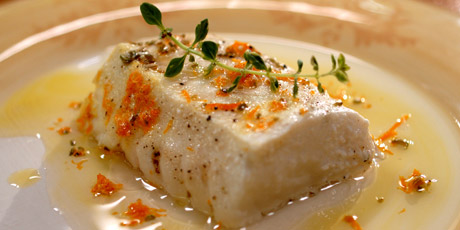 Halibut Poached in Olive Oil
