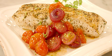 Halibut with Roasted Grape Tomato Salsa