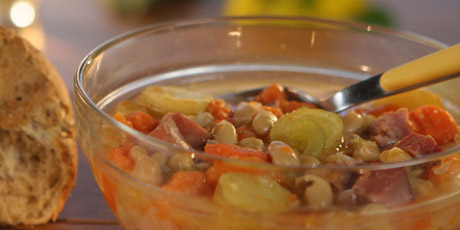 Ham and Bean Soup in a Crock-Pot with Rustic Bread