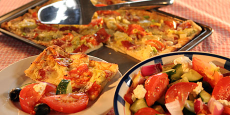 Hogtown Pizza with Easy Greek Salad