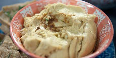 Hummus with Herbed Pita Crisps