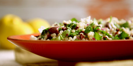 Israeli Couscous with Olives, Arugula and Feta