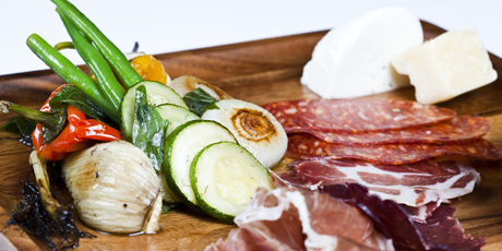 Italian Antipasti with Cured Italian Meats, Cheeses, Marinated Vegetables and Warm Olives