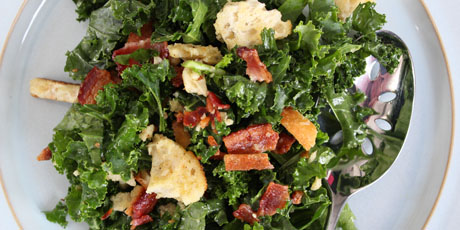 Kale and Bacon Salad with Croutons