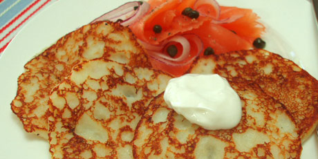 Leftover Mashed Potato Pancakes with Cured Salmon