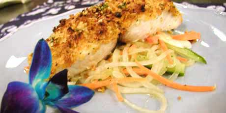 Macadamia Nut Crusted Mahi-Mahi with Maui Onion Salad