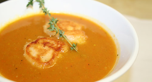 Maple Roasted Butternut Squash Soup with Crisp Corn and Rosemary Fritters