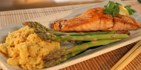Maple Soy Salmon with Couscous and Asparagus
