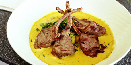 Marinated Lamb Popsicles with Fenugreek Cream Curry