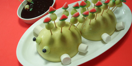 Melon Ball Monster with Dark Fudge Dipping Sauce