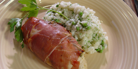 Michael Smith's Pesto-Stuffed Chicken Wrapped in Prosciutto